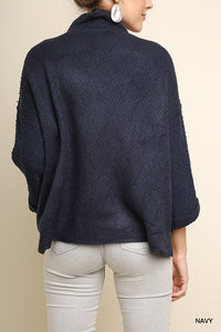 Navy High Neck Diamond Knit Sweater