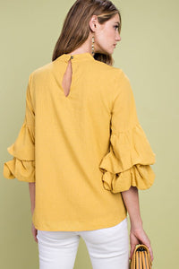 Mustard Double Layer Sleeve Top