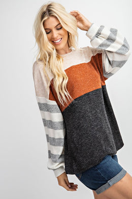 Two Toned Hacci Knit Top