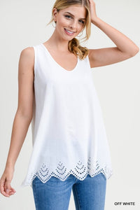 Off White V-Neck Scalloped Sleeveless Top