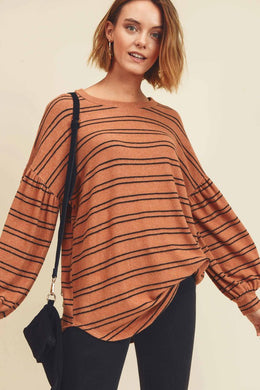 Striped Brushed Top
