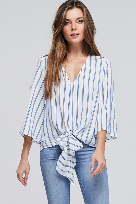 Striped Knit Top with V-Neck
