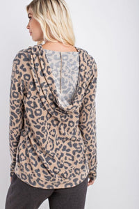 Brushed Animal Print Hoodie