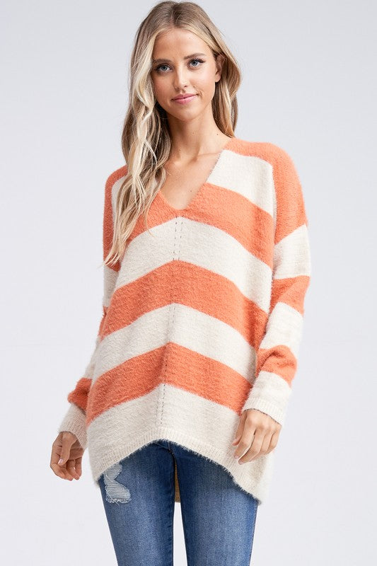 Orange/White Striped V-Neck Sweater