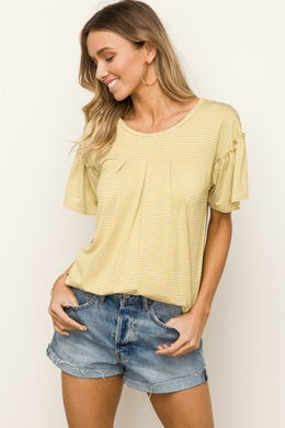 Ruffle Sleeve Mustard Striped Top