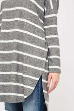 Charcoal Striped Brushed Tunic