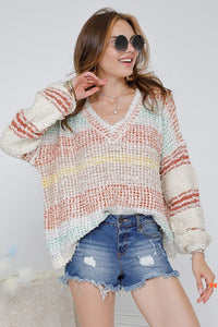 V-Neck Shaggy Sweater