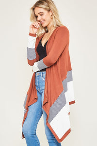 Rust Cardigan with Navy Stripes