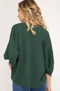 Green 3/4 Sleeve Knit Top