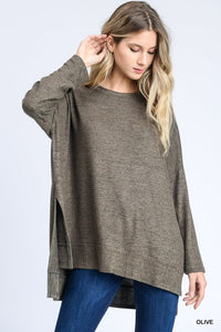 Heather Grey Oversized Hi-Lo Top (Shown in Olive) (Pre-order)