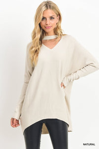 Natural Sweater Top with Keyhole Cutout (Pre-order- Should arrive in December)
