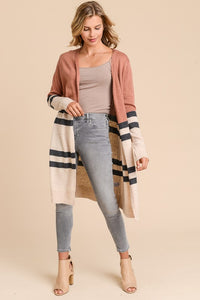Long Sleeve Cardigan with Contrast Colors