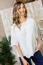 White Embroidered Woven Top