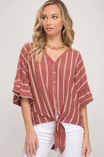 Ruffle Sleeve Button Down Striped Top