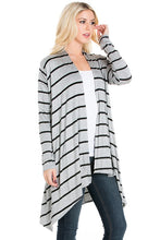 Grey/Black Striped Cardigan