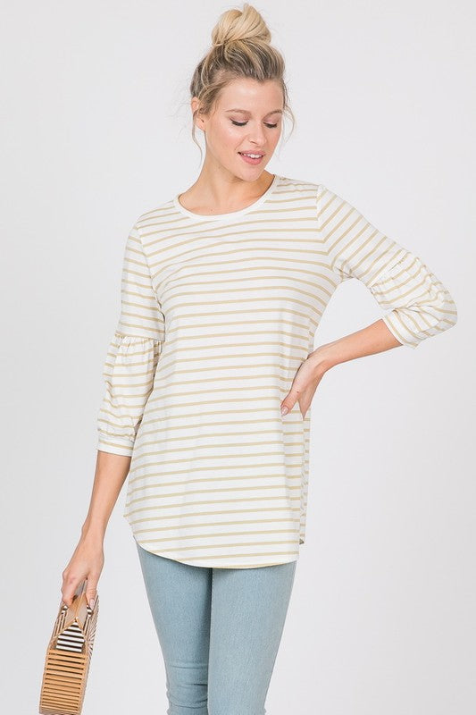 Mustard and White Striped Top