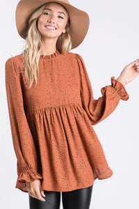 Camel Ruffle Sleeve Top