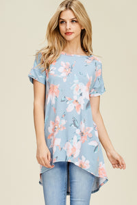 Floral Print Top in Dusty Blue
