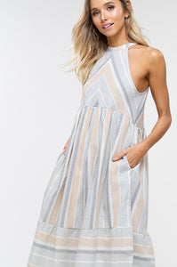 Light Sage Striped Woven Dress
