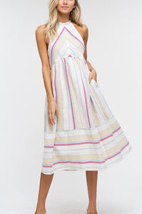 Multi-Colored Striped Woven Dress