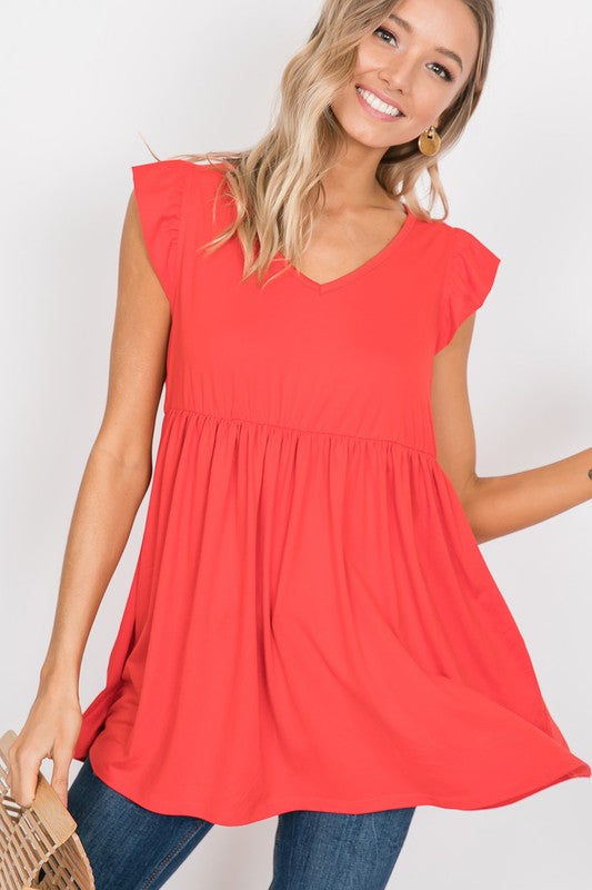 Tomato Red Ruffle Sleeve Top