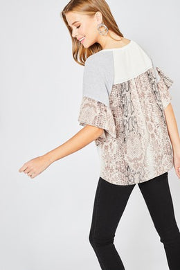 Waffle Knit Top with Reptile Print Detail