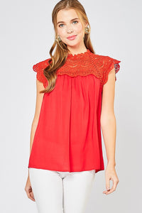 Red Cap Sleeve Babydoll Top