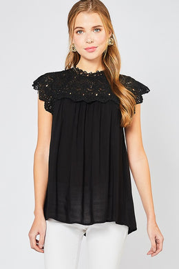 Black Cap Sleeve Babydoll Top