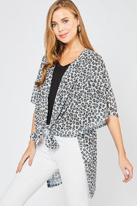 Leopard Print Open-Front Cardigan