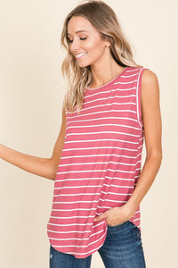 Sleeveless Mauve Striped Top