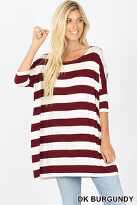 Dark Burgundy and White Striped Top