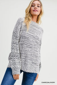 Charcoal/Ivory Boucle Knit Pullover