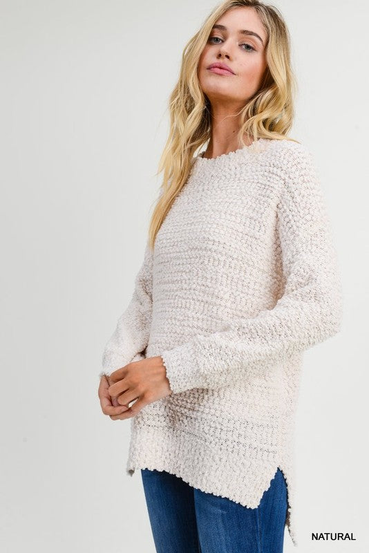 Natural Boucle Knit Pullover