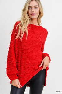 Red Boucle Knit Pullover