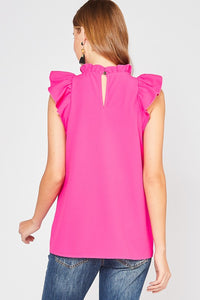 Fuschia Ruffle Sleeveless Top