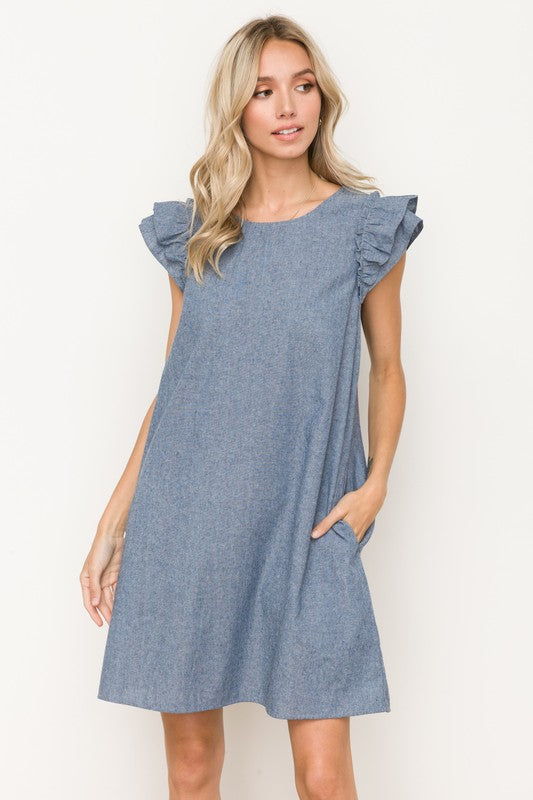 Light Denim Ruffle Sleeve Dress