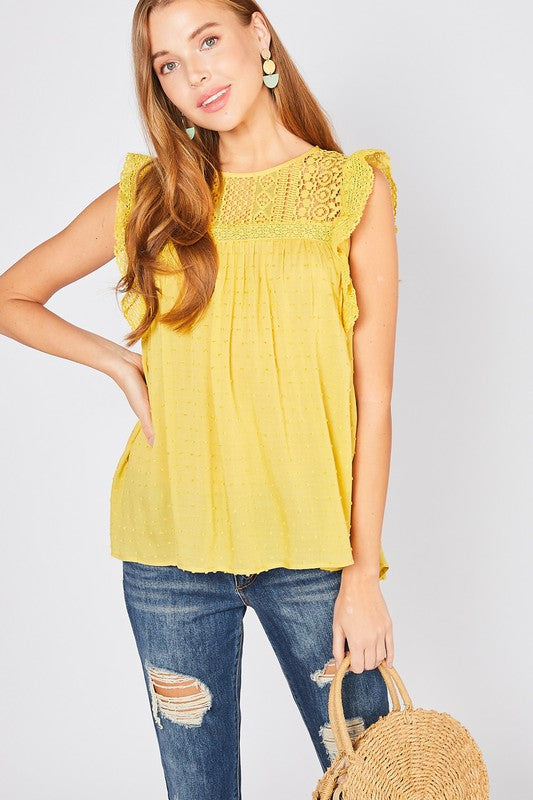 Dotted Lace Mustard Top