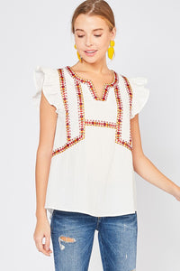 White V-neck Embroidered Top