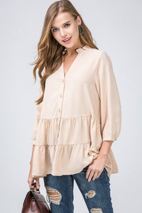 Button-Up Tiered Top