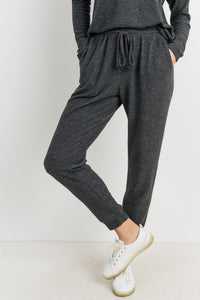 Charcoal Brushed Knit Long Joggers