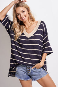 Navy Soft Textured Striped Sweater