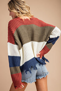 Distressed Color Block Sweater