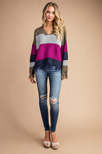 Distressed Stripe Color Block Sweater