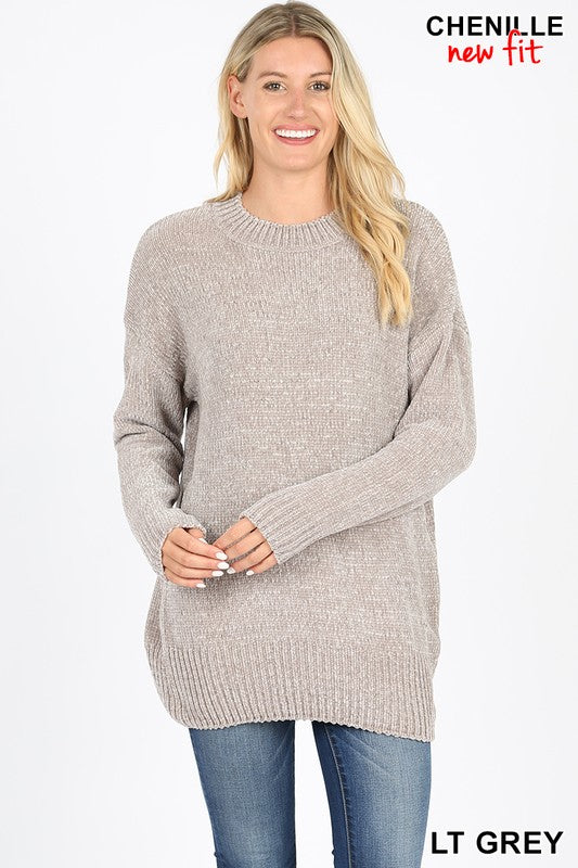 Lt Grey Chenille Sweater