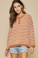 Ivory and Rust Striped Sweater