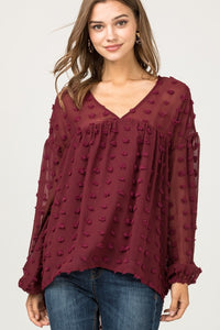 Burgundy Dotted V-Neck Top
