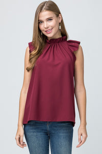 Burgundy Ruffle Sleeveless Top