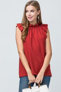 Rust Ruffle Sleeveless Top