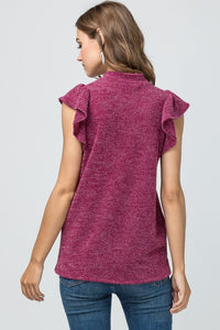 Plum Sleeveless Ruffle Top