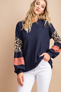 Navy Color Block Top